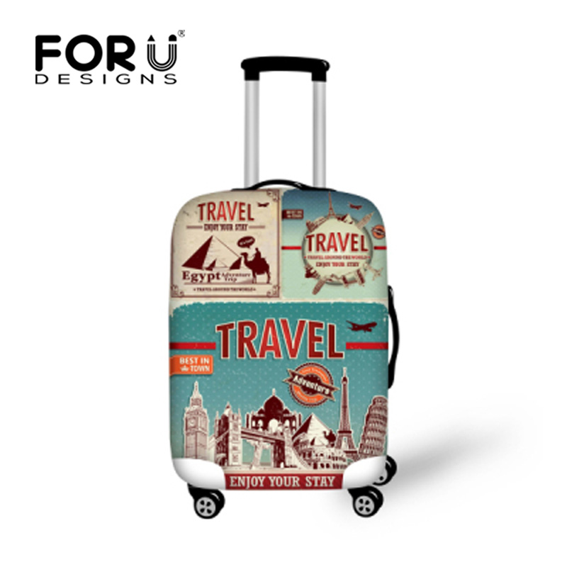 FORUDESIGNS Elastic Travel Luggage Protective Dust Cover Waterproof Spandex Luggage Set Cover Elastic Zipper Suitcase Cover