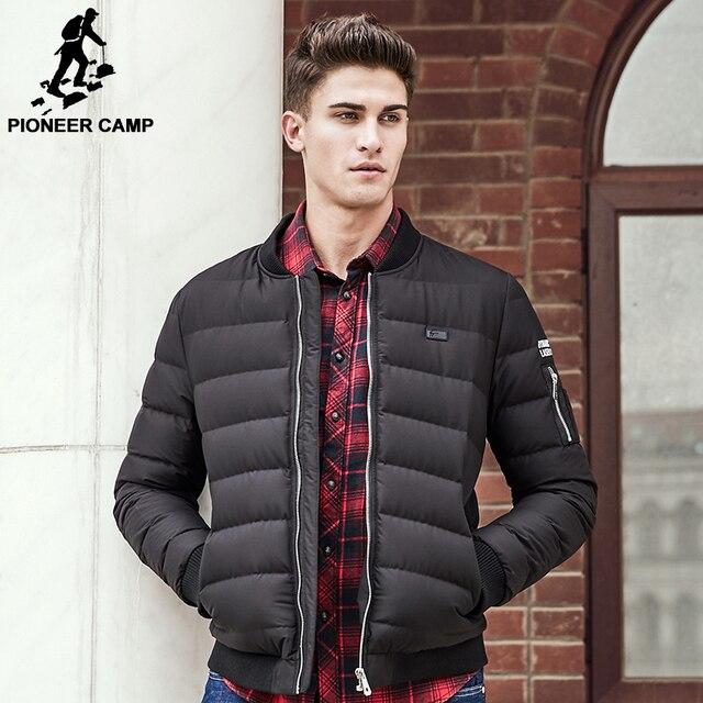 Pioneer Лагерь Толстый теплый утка пуховик мужчины высшего качества марки зима вниз пальто моды для мужчин вскользь уменьшают подходящие мужской пальто 611623