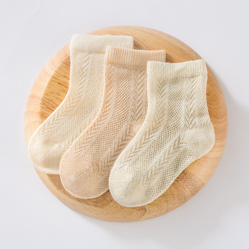 3 double soft natural color cotton mesh baby socks new combed cotton breathable baby socks