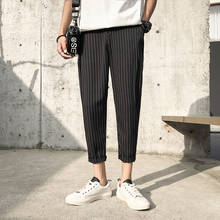 2019 Mens Cotton Fashion Loose Printing Stripe Black/navy Haren Casual Pants Trousers Harem Hip Hop Pants Large Size M 5XL