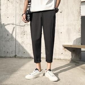 Image 1 - 2019 Mens Cotton Fashion Loose Printing Stripe Black/navy Haren Casual Pants Trousers Harem Hip Hop Pants Large Size M 5XL