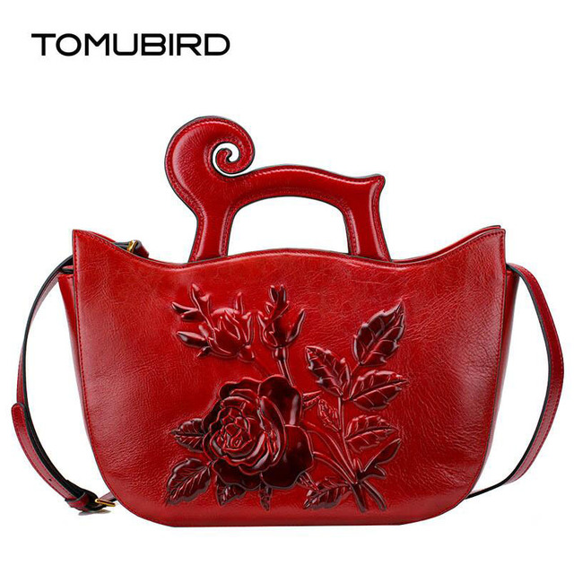 TOMUBIRD new Superior cowhide leather famous brand women bag Chinese style  embossed  Rose fashion genuine leather handbags