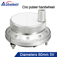 Aubalasti CNC pulser handwheel 5V 60mm 80 100PPR Manual Pulse Generator CNC Machine 60mm Rotary Encoder Electronic 4pins & 6pins