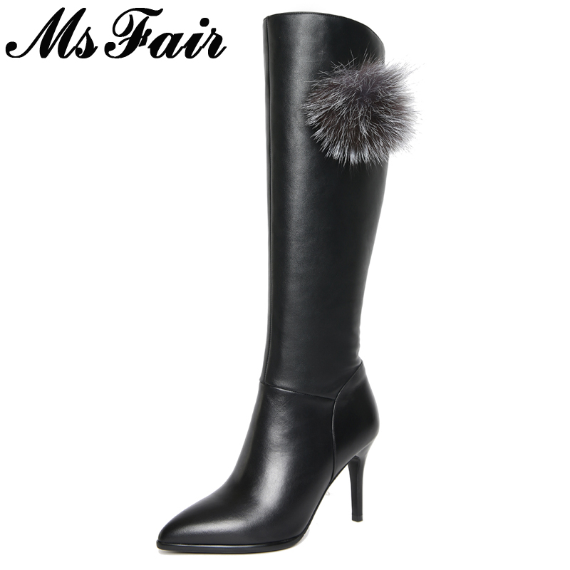 MsFair Pointed Toe Thin Heels Women Boots High Heel Knee High Ladies Boots Winter Short Plush Genuine Leather Fur Women's Boots hot selling 2015 women denim boots pointed toe tassel patchwork knee high boots crystal thin high heels winter motorcycle boots