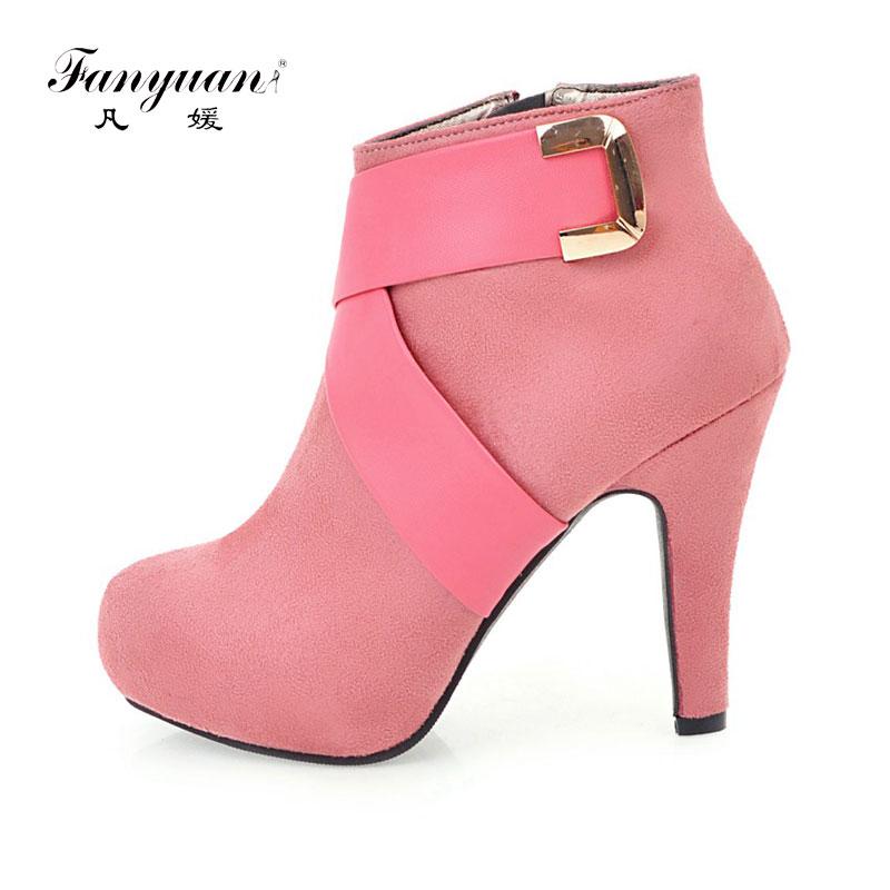 Fanyuan Designer Shoes Women 2017 Luxury Velvet Ankle Boots High Heels Autumn Winter Ankle Boots For Women Ladies Bota Feminina