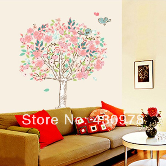 QZ806 Free Shipping 1Pcs Abstract Art <font><b>Bohemian</b></font> Heart Love Flower Tree Singing Bird Removable PVC Wall Stickers <font><b>Home</b></font> <font><b>Decoration</b></font>
