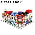Finger rock city series mini calle modelo de tienda tienda con la figura de la apple store mcdonald's juguetes de bloques de construcción