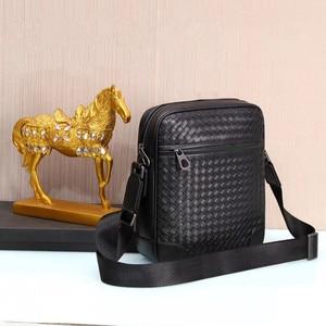 Image 4 - Kaisiludi leather woven mens bag single shoulder bag vertical mens oblique span soft leather  fashion mens and women