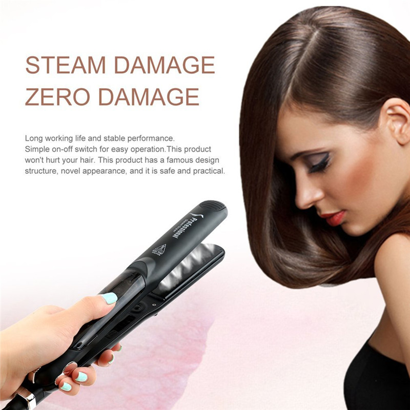 Professional Dual Use Ceramic Vapor Steam Hair Straightener Hair Styling Tool Fast Warm-up Thermal Performance 1 pcs ultrasonic vibration electrical hair straightener powerful infrared hair care styling machine fast warm up eu plug
