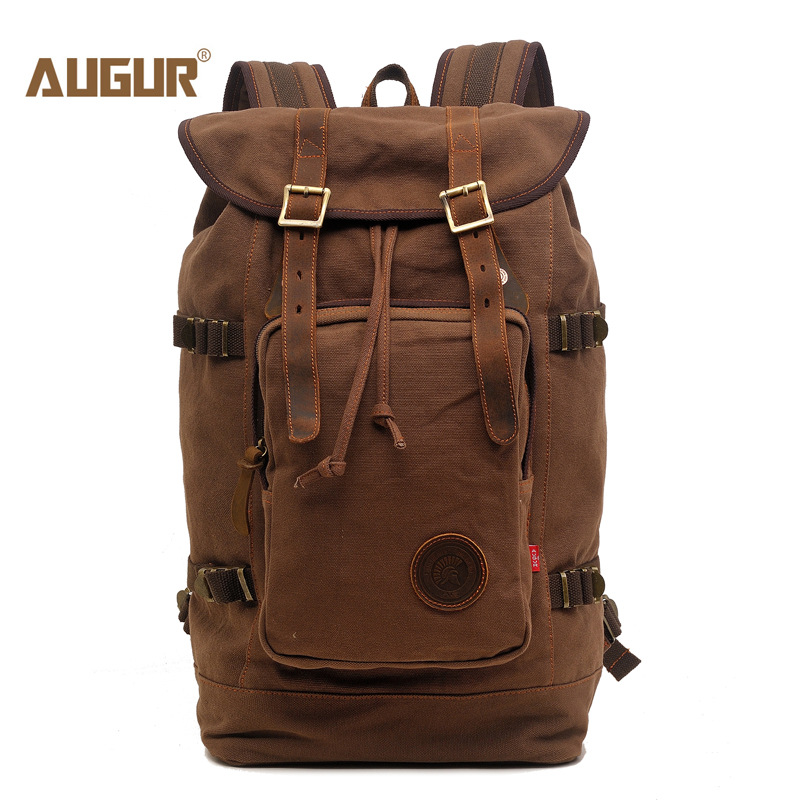 AUGUR New fashion men s vintage canvas backpack For Teenage Girls school bag travel large capacity