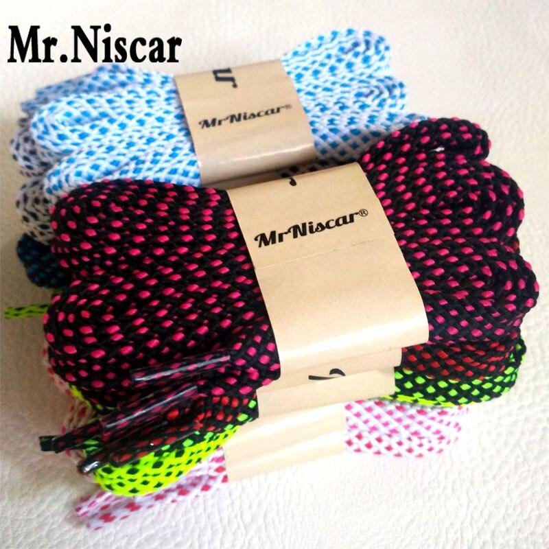 Mr. niscar/5 пара шнурки Мода Для мужчин Для женщин кроссовки полиэстер шнурки Цвета клетчатый двойной Слои полые плоские Шнурки