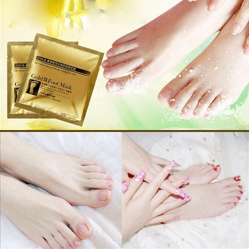 New Arrival Hot 2Pcs/Pack 24K Gold Foot Peeling Re Mask Remove Dead Skin Cuticle Pedicure LP54