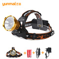 Newest 2000 lumens led headlamp Headlights Lantern 3 modes waterproof torch head Use 18650 Rechargeable Battery