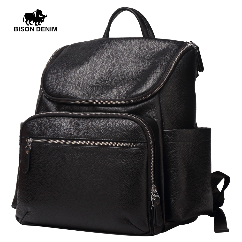 BISON DENIM Genuine Leather Camera Bag Men Large Backpack 13 Laptop Ipad School Bags Men Women Travel Fashion Backpack W2521