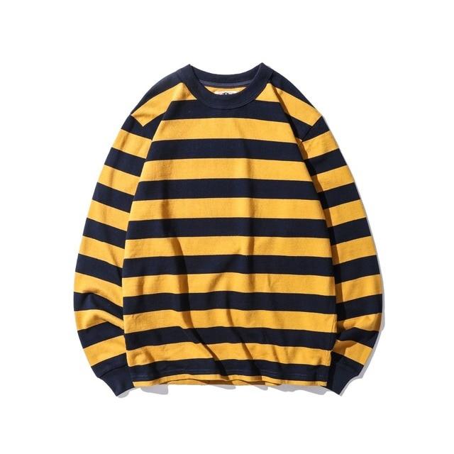 2018 New Top Black White Red Yellow Stripes Men Long Sleeve T Shirt