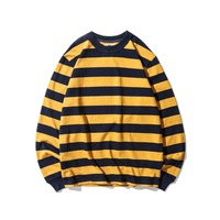 2018 New Top Black White Red Yellow Stripes men Long Sleeve T Shirt Fashion Casual Cotton Tee Y890
