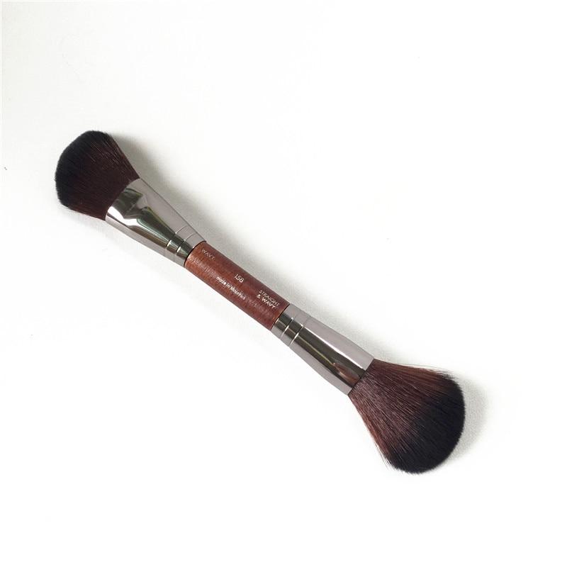 Cepillo de esculpir de doble extremo 158-cepillo de contorno inclinado y brocha de rubor de polvo-brochas de maquillaje de belleza aplicador de licuadora