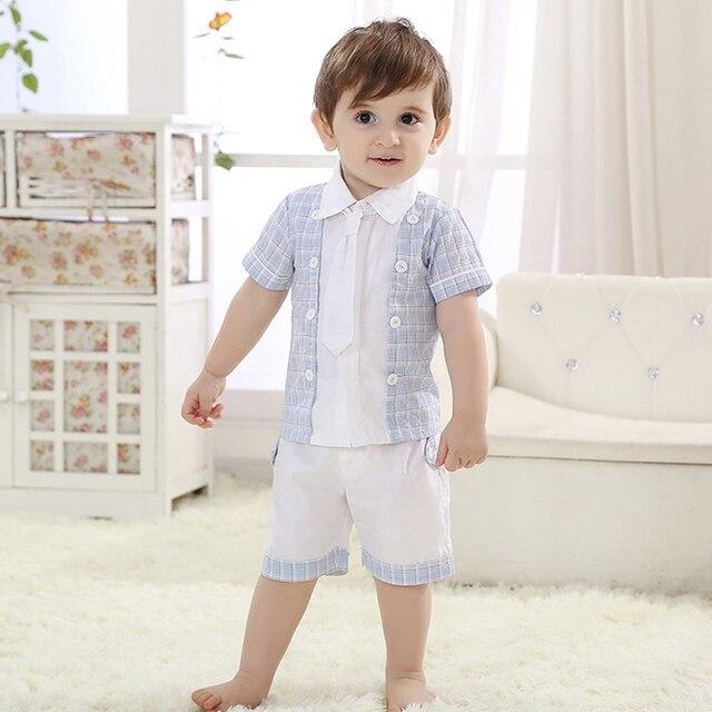 Summer Baby Boys Clothing Set,Fashion Children's Short-Sleeve Shirts+Short Pants,Cotton Printed Kids Casual Wear(6 Months-3 Yrs)
