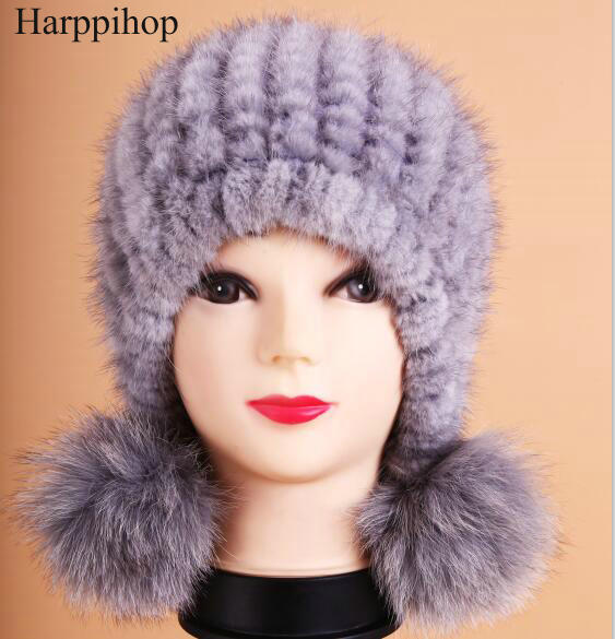 2017 Cheap Real Mink Fur Hat For Women Warm Knitted Mink Fur Beanies Cap Mink Fur