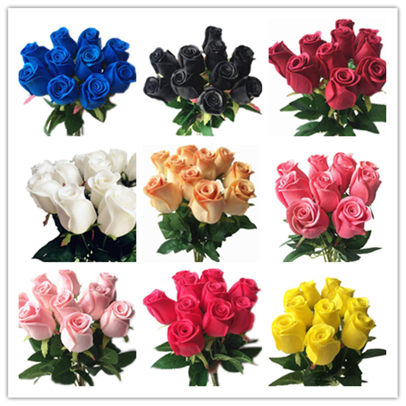Real Touch Roses Black Pink Blue Rose Red White Yellow Purple PU Rose For Wedding Party Artificial Decorative Flower 14 Colors
