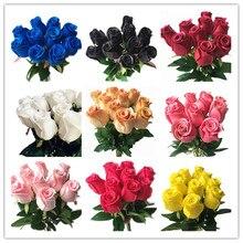 สัมผัสจริงกุหลาบสีแดงสีขาวสีเหลืองสีม่วง PU Rose ธรรมชาติประดิษฐ์ดอกไม้สำหรับงานแต่งงานหน้าแรกตกแต่งดอกไม้