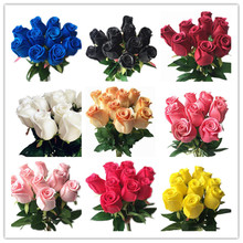 Real Touch Roses Red White Yellow Purple PU Rose Natural Looking Artificial Flowers for Wedding Party Home Decorative Flowers