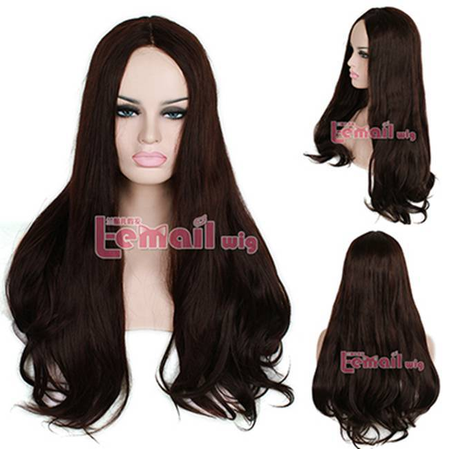ФОТО Free Shipping 75cm Heat Resistant Fiber Long Brown Synthetic Lace Front Wig
