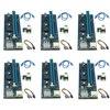 6 sztuk 006C USB 3.0 PCI-E Express 1X 4x 8x 16x przedłużacz Riser karta adaptera SATA 15pin męski na 6pin kabel zasilający dla Bitcoin wydobycie