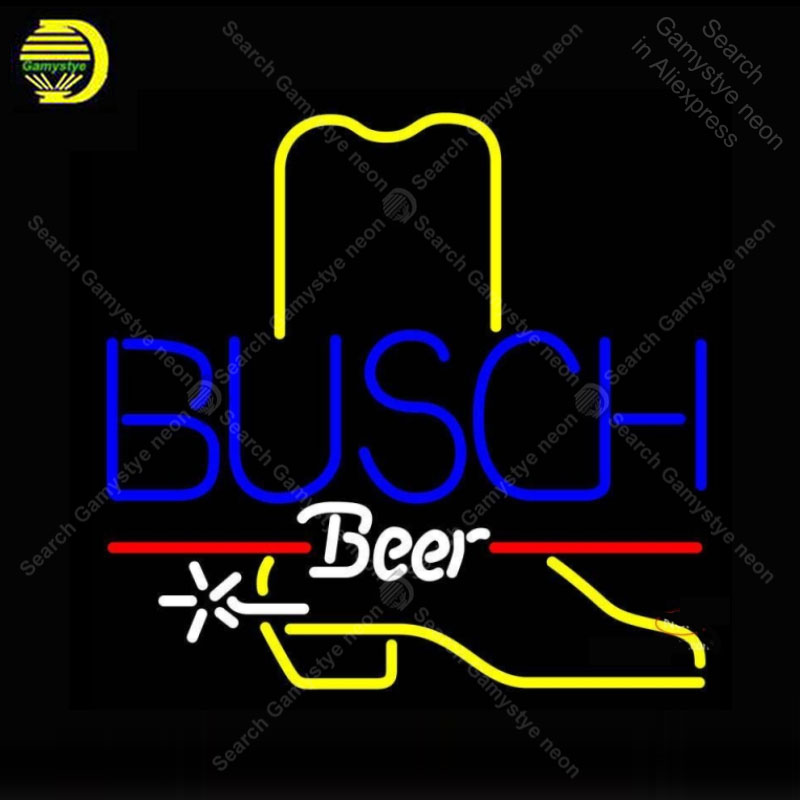 Neon Sign for Busch Cowboy Boot neon bulb Sign Beer Bar