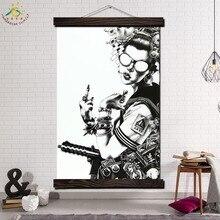Лучший!  Cool Uniformed Gun Girl Современные Wall Art Принт Поп-Арт Картина И Кадр Афиши Прокрутки Холст  Лучший!