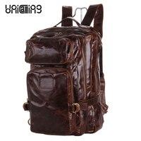 Модная брендовая мужская кожаный рюкзак супер качество мужская кожаная дорожная сумка рюкзак многофункциональный мужчины рюкзак кожаный