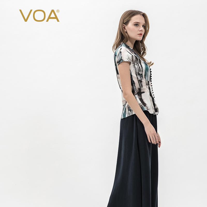 Tops & Tees Women's Clothing Voa Silk Elastic Satin Chinese Style Mushroom Buckle Ink Printing V-neck Sleeve Pleated Design Elegant Shirt B995 To Be Distributed All Over The World
