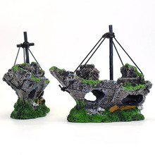 2017 Hot 1 set Resin Material Beautiful Aquarium Ornament Wreck Sailing Boat Sunk Ship Destroyer Fish Tank Decoration