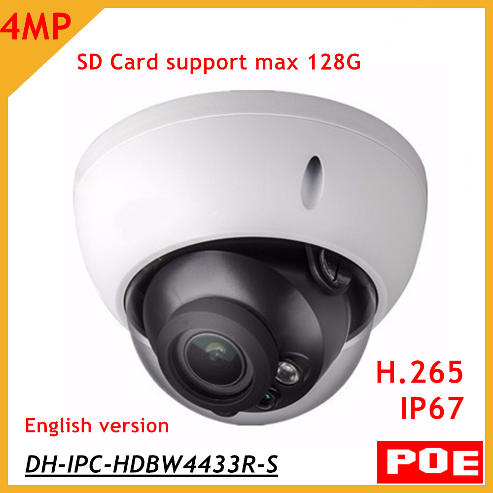 DH IP Camera IPC-HDBW4433R-S 4MP Network Camera Dome POE H.265 H.264 IP67 with SD slot Support 128G English Version cam dhl free shipping in stock new arrival english version ds 2cd2142fwd iws 4mp wdr fixed dome with wifi network camera