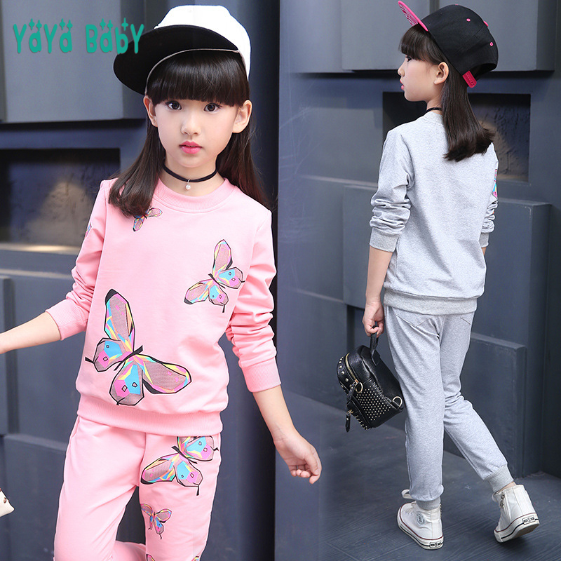 Cotton Girls Sport Suits 2018 New Long Sleeve Butterfly Children Clothing Set 3 4 5 6 7 8 9 10 11 12 Year Kids Clothes Tracksuit girls clothes cotton casual children clothing set 2018 new long sleeve shirts striped leggings baby kids suits 3 4 5 6 7 8 years