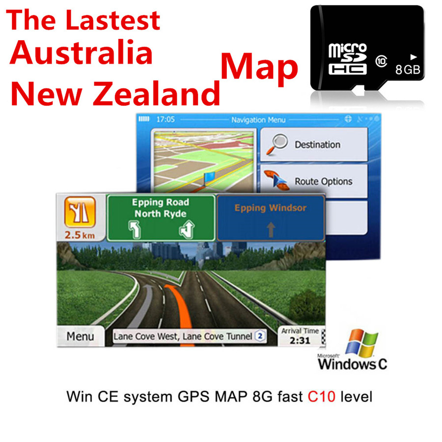 Fit for WCE System Car Auto GPS Navigation 8GB Micro SD Card for Australia New Zealand Map