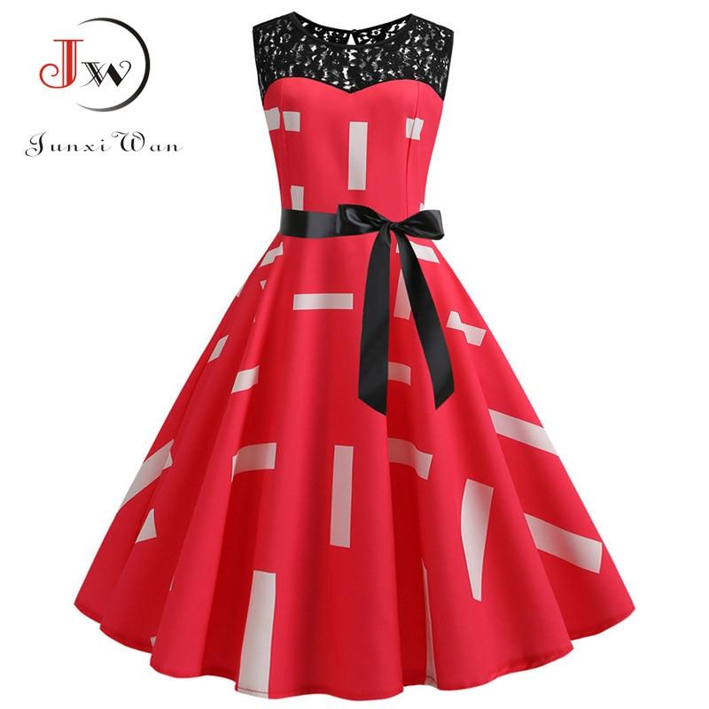 Lace Patchwork Floral Print Women Summer Dress Hepburn 50s 60s Elegant Vintage Dress Office Ladies A-Line Party Dresses Belt 3