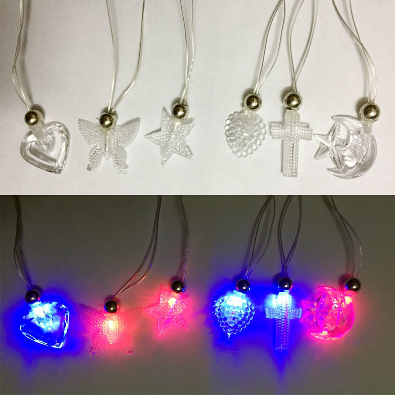 12pcs Led flashing necklace toy various pendant light up necklace party birthday christmas supplies kids novelty toy props