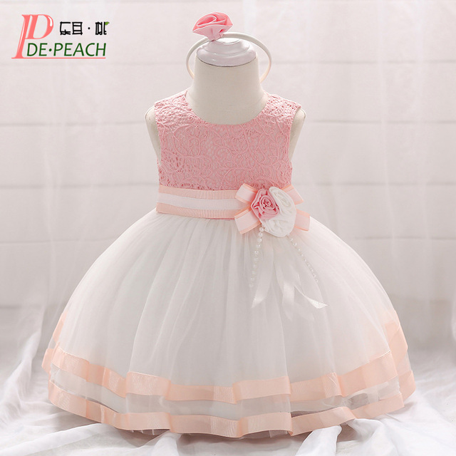 d221064fd0276 US $11.99 40% OFF|DE PEACH Summer Lace Hollow Flowers Baby Princess Dress  Infant Girl Wedding Party Christening Gown Ribbons Tulle Tutu Baby Dress-in  ...