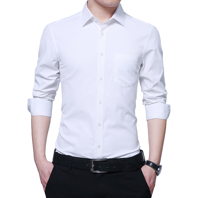 bd25b28aa Long Sleeve Twill Solid Formal Business Shirt Brand Men Dress Shirts ...