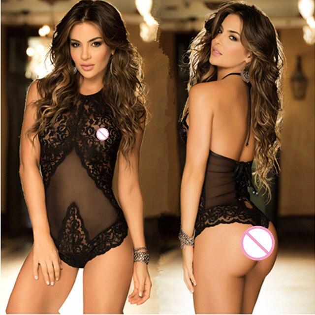 54eea52e4 2018 hot Sexy Lingerie Lace Nightwear Erotic Lingerie Sleepwear Women  Summer Sleep Dress Halter Backless Babydoll Dress