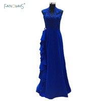 Новые Королевский синий цвет Кружева длинным оборками мать платье невесты пол Длина Mae да Noiva vestido festa madrinha mbd93