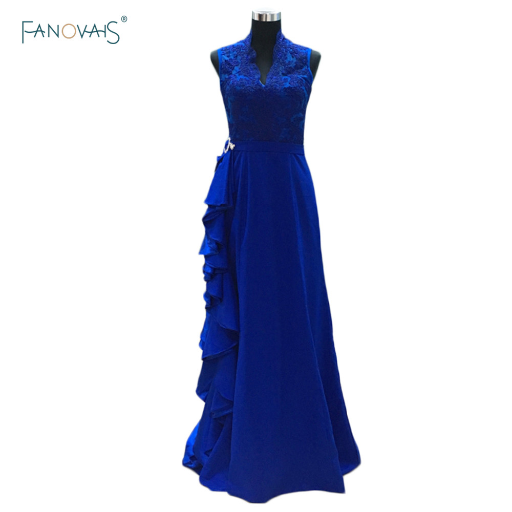 Newest royal blue lace long ruffles mother of bride dress floor Length mae da noiva vestido festa madrinha MBD93