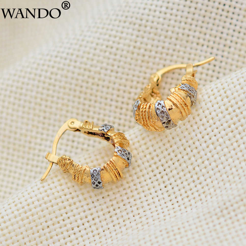 WANDO Golden Round Earrings  for Women Gold color Middle Eastern Arab Ethiopian French Jewelry Wholesale Gifts
