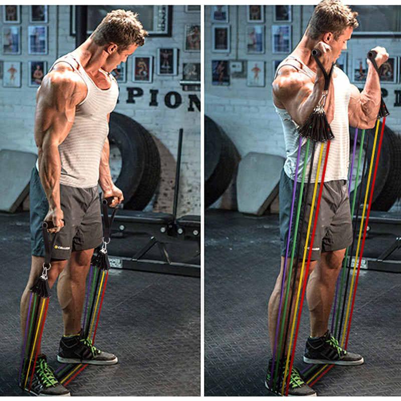 Nowy 14 sztuk zestaw guma do fitnes  gumy do cwiczen sprzęt do ćwiczeń guma do cwiczen pilates bandzespoły oporu joga ćwiczenia opaska sportowa gumowa pętla rury zespoły siłownia Fitness ćwiczenia Pilates joga cegły