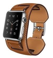 1:1 calidad original correa de cuero pulsera brazalete de cuero genuino para apple watch cuff 38/42mm banda de reloj marrón azul
