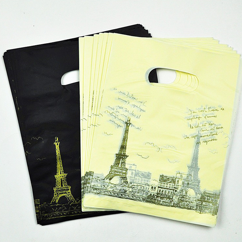 15*20cm Black /Yellow Tower Pattern Plastic Shopping Bags With Handle100pcs Plastic Gift Bags Packaging Bags With Handle Jewelry