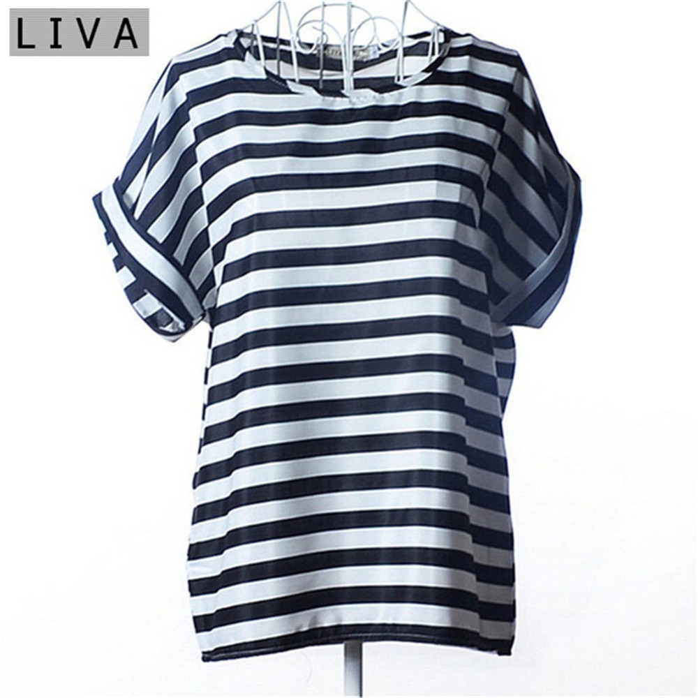 Summer Thin Women Shirt S-XXL Summer Style Loose Colorful Print Chiffon Blouse Casual Tops Short Sleeve Blusa Feminina Stripe