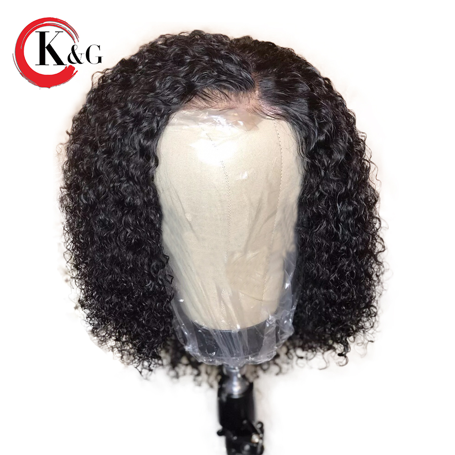 Kun Gang Curly Lace Front Human Hair Wigs Glueless Natural Hairline Brazilian Remy Hair Wig With