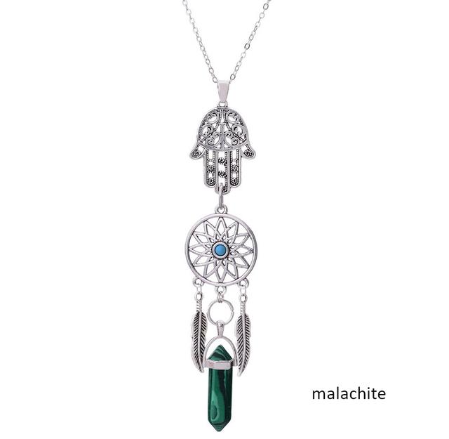 Boho Dreamcatcher Judaism Jewish Style Hamsa Hand Necklace Stone